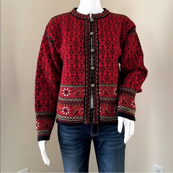 Dale of Norway Sweaters - Dale of Norway Cardigan Red Fair Isle Pure Wool M 65617c891